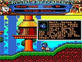In game image of Crystal Kingdom Dizzy on the Commodore Amiga.