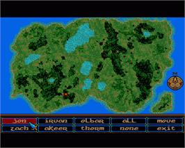 In game image of Crystals of Arborea on the Commodore Amiga.