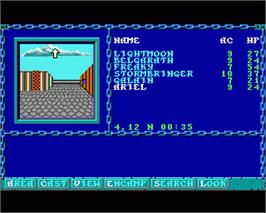 In game image of Curse of the Azure Bonds on the Commodore Amiga.