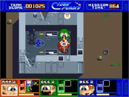 In game image of CyberPunks on the Commodore Amiga.