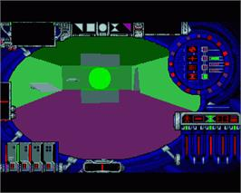 In game image of Cybercon 3 on the Commodore Amiga.
