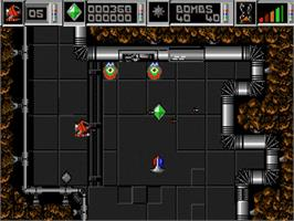 In game image of Cybernoid: The Fighting Machine on the Commodore Amiga.