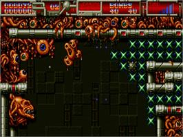 In game image of Cybernoid 2: The Revenge on the Commodore Amiga.