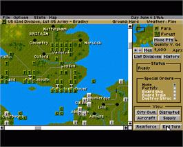In game image of D-Day: The Beginning of the End on the Commodore Amiga.