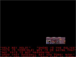 In game image of Damage: The Sadistic Butchering of Humanity on the Commodore Amiga.