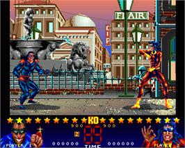 In game image of Dangerous Streets on the Commodore Amiga.