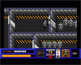 In game image of Deathbots on the Commodore Amiga.