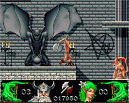 In game image of Deliverance: Stormlord 2 on the Commodore Amiga.