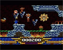 In game image of Demon Blue on the Commodore Amiga.