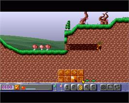 In game image of Diggers on the Commodore Amiga.