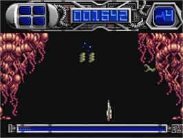 In game image of Dominator on the Commodore Amiga.