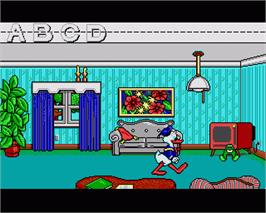 In game image of Donald's Alphabet Chase on the Commodore Amiga.