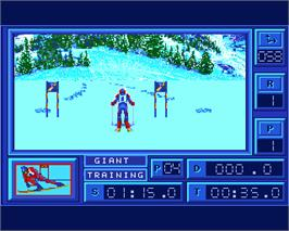 In game image of Downhill Challenge on the Commodore Amiga.