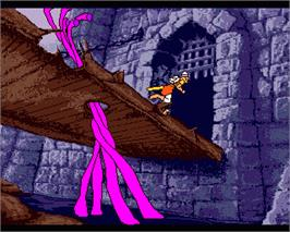 In game image of Dragon's Lair on the Commodore Amiga.