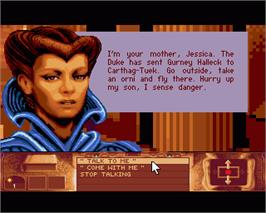 In game image of Dune on the Commodore Amiga.