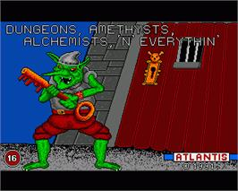 In game image of Dungeons, Amethysts, Alchemists 'n' Everythin' on the Commodore Amiga.