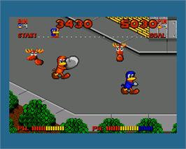 In game image of Dynamite Dux on the Commodore Amiga.
