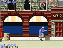 In game image of E-SWAT: Cyber Police on the Commodore Amiga.