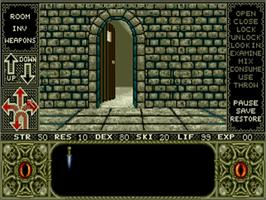 In game image of Elvira: Mistress of the Dark on the Commodore Amiga.