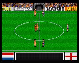 In game image of Emlyn Hughes International Soccer on the Commodore Amiga.