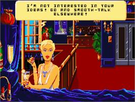 In game image of Emmanuelle: A Game of Eroticism on the Commodore Amiga.