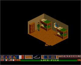 In game image of Escape from Colditz on the Commodore Amiga.