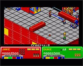 In game image of Escape from the Planet of the Robot Monsters on the Commodore Amiga.