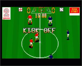 In game image of European Football Champ on the Commodore Amiga.
