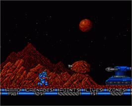 In game image of Exolon on the Commodore Amiga.