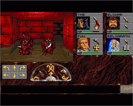 In game image of Eye of the Beholder on the Commodore Amiga.