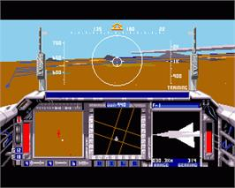 In game image of F/A-18 Interceptor on the Commodore Amiga.