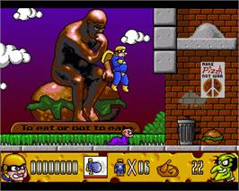 In game image of Fatman: The Caped Consumer on the Commodore Amiga.