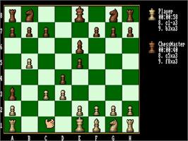 In game image of Fidelity Chessmaster 2100 on the Commodore Amiga.