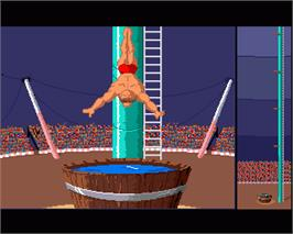 In game image of Fiendish Freddy's Big Top O' Fun on the Commodore Amiga.