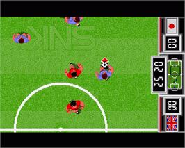 In game image of Fighting Soccer on the Commodore Amiga.