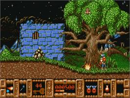 In game image of Fire and Brimstone on the Commodore Amiga.