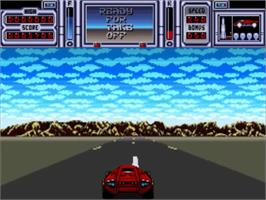 In game image of Fire and Forget 2: The Death Convoy on the Commodore Amiga.