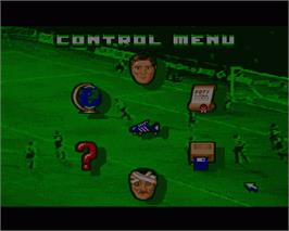 In game image of Footballer of the Year 2 on the Commodore Amiga.