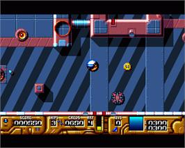 In game image of Galactic Warrior Rats on the Commodore Amiga.
