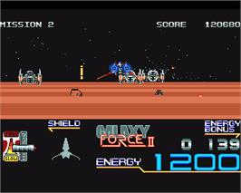 In game image of Galaxy Force 2 on the Commodore Amiga.