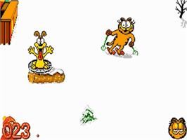 In game image of Garfield: Winter's Tail on the Commodore Amiga.