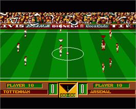 In game image of Gazza's Super Soccer on the Commodore Amiga.