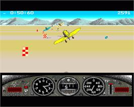 In game image of Gee Bee Air Rally on the Commodore Amiga.