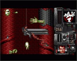 In game image of Ghostbusters 2 on the Commodore Amiga.