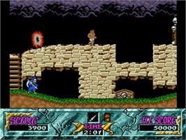 In game image of Ghouls'n Ghosts on the Commodore Amiga.