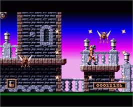 In game image of Gods on the Commodore Amiga.