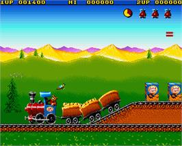 In game image of Guldkorn Expressen on the Commodore Amiga.