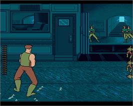 In game image of Guy Spy and the Crystals of Armageddon on the Commodore Amiga.
