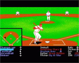 In game image of HardBall 2 on the Commodore Amiga.