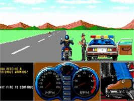 In game image of Harley-Davidson: The Road to Sturgis on the Commodore Amiga.